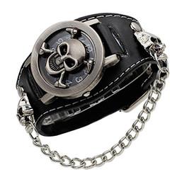 $enCountryForm.capitalKeyWord NZ - cover stereoscopic hollow Black Punk Rock Chain Skull Skeleton Watches Men Women Bracelet Cuff Gothic Wrist Watch Fashion leather wristwatch