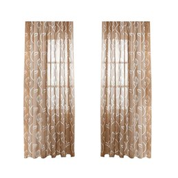 China Translucent Tulle Leaves Window Sheer Window Screen Rod Pocket Voile Curtains for Bedroom Living Room supplier leave french suppliers