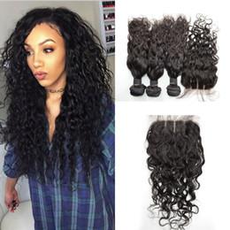 unprocessed virgin hair silk closure 2019 - 3pcs Brazilian Virgin Water Wave Human Hair Bundles With Silk Base Closure 4*4inch Natural Black Unprocessed Hair Extens
