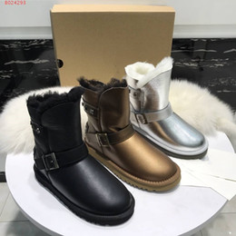 Coloured Flats NZ - Brand shoes Production factory custom Dazzle colour leather vamp Comfortable leather fur lining Women's flat heel snow boots