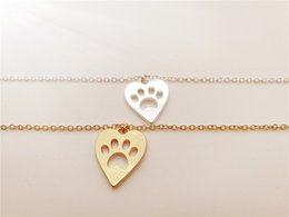 Discount paw print bracelets - hollow love Heart Animal paw footprint Shape bracelet Pet Cat Dog Panda Bear Paw bracelet Paper-cut Animal Pet Foot Prin
