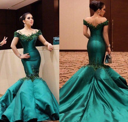 Discount long short dresses emerald green 2019 Emerald Green Elegant Formal Dress Evening Party Wear Off Shoulders Long Formal Holidays Wear Pageant Gowns Plus Si