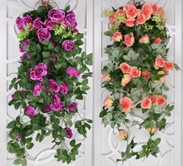 fake vines decoration UK - Artificial flowers For Wedding 2018 Ivy Vine Fake Silk Roses Home Wedding Decoration Hanging Garland Decor