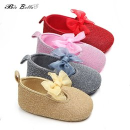 Wholesale Newborn Girl First Walker Toddler Baby Girls Cotton Sequin Infant Soft Bottom Shoes Big Bow Decor Bebes Girls Shoes