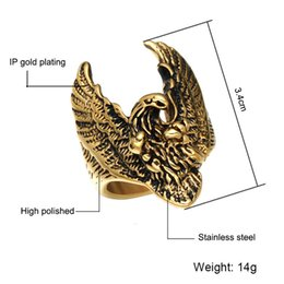 Discount unique asian jewelry men Unique Flying Eagle Ring Punk Men's Hawk Vintage Stainless Steel Men Rings Square Finger Signet Hawk Ring Animal Je