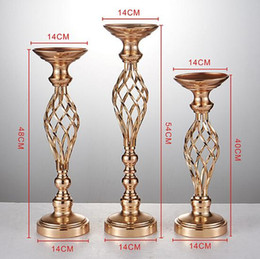 Silver Candle Holders Wholesale NZ - Shiny Wedding Flower Ball Holder Flower Vase Metal Candle Holder Gold Silver Candlestick Wedding Table Decor Accessories Centerpiece