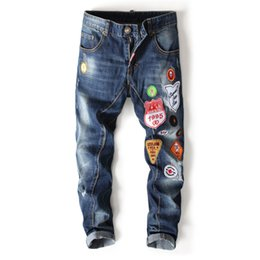 biker badges patches UK - New Famous Brand Hot Straight Slim Fit Jeans Men Badge Denim Ripped Jeans Pants Men Hombre Hip Hop Street Biker 998-1#
