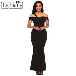 $enCountryForm.capitalKeyWord UK - La Chilly Sexy 2018 Robe Femme Summer Maxi Dresses Black Asymmetric Off Shoulder Look High Waist Party Gown Sommer Kleid LC61901