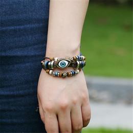 Retro Armband Evil Eye Perlen Türkisches Armband Einstellbar Multilayer Lederarmbänder für Männer Frauen Geschenke Dekorative Accessoires B907S F