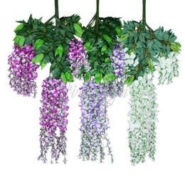 Discount red event decor - 105cm Artificial Silk Wisteria Fake Garden Hanging Flower Plant Vine Wedding Party Event Decor 24pcs  Lot