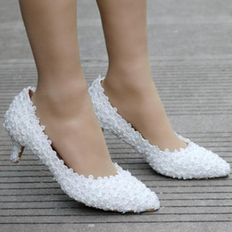 Thick White Wedding Shoes Australia - 5cm White Lace Wedding Shoes Princess Shoes Pumps High Heels Thick Heel Pumps White Pumps