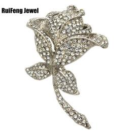 $enCountryForm.capitalKeyWord Canada - Extra Large Rhodium Silver Tone Sparkly Rhinestone Crystal Beautiful Rose Flower Wedding Bouquet Wedding Brooch Vintage