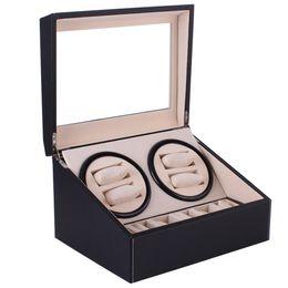 Venta al por mayor de Automático Mecánico de reloj Winders Negro PU Colección de caja de almacenamiento de cuero Reloj Pantalla Joyería Enchufe de EE. UU. Winder Box