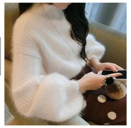 White Rabbit Hair Australia - 2017 autumn and winter new hedging white hair knit semi-high collar imitation mink velvet loose lantern sleeves rabbit sweater