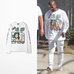 Pop Tees Australia - Kanye West Coast T Shirt Long Sleeve Men Hip Hop High Street Lit To Pop Tane's Print Vikings T-shirt Drake Souls Tee Shirt Homme
