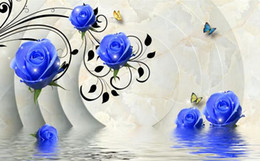 designer kitchen wallpaper UK - 3D blue rose flower background wall painting wall papers home decor designers