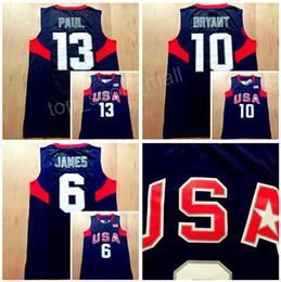Chinese  2008 US Dream Team Eight Jersey Navy Blue 6 LeBron James 10 Kobe Bryant Chris Paul Jersey 13 Basketball Uniform White Men America manufacturers