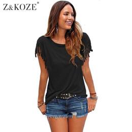 $enCountryForm.capitalKeyWord Canada - Wholesale- Z&KOZE 2017 New Summer Plus Size Tassel t-shirt Women T Shirts Short Sleeve Tops Tees Tshirt Fashion For Women Sexy Blusas