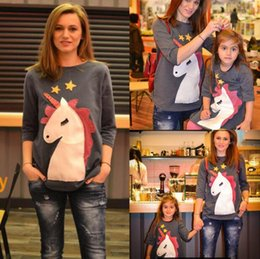 Discount mother daughter shirts - Parent-child Unicorn Printed Shirt 4 Colors 8 Sizes Cute Cartoon Stars Mother Daughter Long Sleeve Kids Clothes OOA5539
