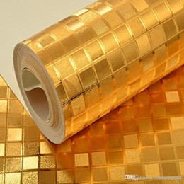 f1f2d7e320b3 Lujo Plata   Oro Fondos de pantalla Brillo Lámina de oro Mosaico KTV Techo  Papel tapiz Color sólido Metal brillante Efecto Rollo de papel de pared