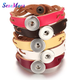 18mm bezel Australia - 2018 New Braided Leather Snap Button Bracelet fit 18mm Snap Jewelry Handmade 18mm vintage Leather Bracelets