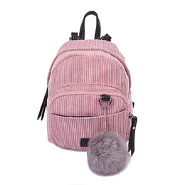 b1730090539d New Fashion Spring Women Backpacks Corduroy Simple Mini Rucksack Girls  Casual School Bag Ladies Shoulder Bag with Pink Plush Toy