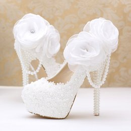 Leather High Heel Shoes Flower NZ - Pearl Wedding Shoes Bride High-heel white Lace flowers Super high heel and platform White pearls shoes