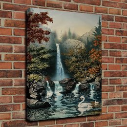 $enCountryForm.capitalKeyWord Australia - Oil Painting The Waterfall Water Wall Art Canvas HD Print Poster Home Decor Canvas Art Wall Painting Poster Framed