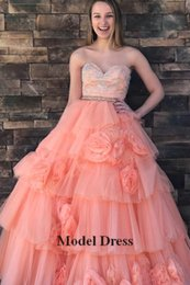 Sweethearts Ball Australia - Princess Tulle Sequined Quinceanera Dresses 2018 Sweetheart Ruched Tiered Flowers Floor Length Long Ball Gown Prom Dresses for Pageant Girls