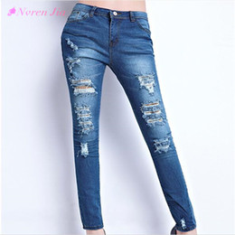 $enCountryForm.capitalKeyWord NZ - 2018 Hot Fashion Ladies Cotton Denim Pants Stretch Womens Bleach Ripped Skinny Jeans Cowboy Holes Jeans For Female