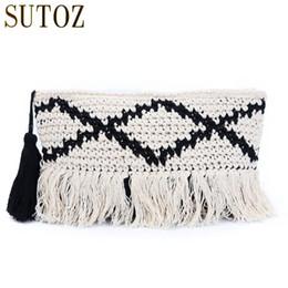 Crochet Tassel Bag NZ - National Design Woven Handbag Clutch Female Cotton Tassels Envelope Bags Messengers for Women Soft Shoulder Crochet Bag BA608