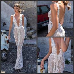 $enCountryForm.capitalKeyWord Australia - 2018 New Berta Full Lace Wedding Dresses Backless Deep V-neck Illusion Bodice Wedding Dress Floor Length Custom Made Bridal Gowns 2019