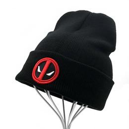 New Hot Men Women Winter Warm Beanies Hat Deadpool Heros Hat Beanie Soft  Hip Hop Black Warm Knitted Caps For Men Women Skullies aa557243760c