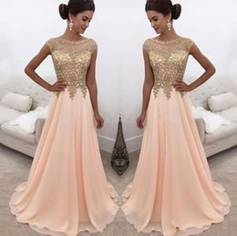 modern evening dresses sleeves Australia - 2020 New Arabic Peach Prom Dresses Illusion Jewel Neck Gold Lace Appliques Cap Sleeves Chiffon Beaded Sweep Train Party Evening Gowns Wear