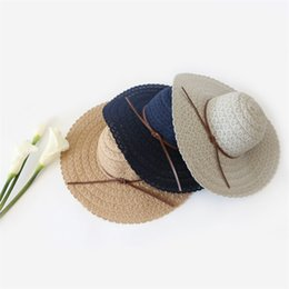China Seaside Holiday Sun Hats Beach Hat Outdoors Wide Brim Sunscreen With Lace Multicolor Cap Embroider Soft Dome Roof 15md jj supplier sun hat holidays suppliers