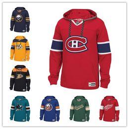 Пользовательские хоккей с капюшоном пуловер Нэшвилл хищники Детройт Ред Вингс Монреаль Канадиенс Сан-Хосе акулы Питтсбург пингвины сабли