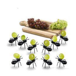 $enCountryForm.capitalKeyWord Australia - New Fashion 12pcs set Fruit Fork Reusable Ant Fruit Fork Tableware Multiple Snack Cake Dessert Toothpicks For Halloween Party Decorations