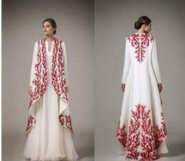 $enCountryForm.capitalKeyWord NZ - Elegant White And Red Applique Evening Gowns Ashi Studio 2016 -2017 Long Sleeve A Line Prom Dresses Formal Wear Women Cape Party Dresses