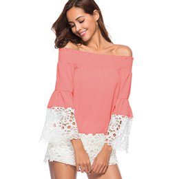 3ea90578304 White lace crochet shorts online shopping - 2019 Women Chiffon Blouse Slash  Neck Off Shoulder Crochet