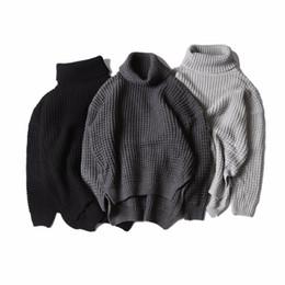 9bd78bf544 online shopping Korea hiphop Autumn winter kanye west high collar knit  sweater both sides Split fork