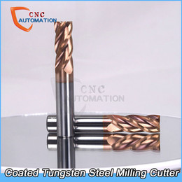 Coating Cnc Australia - Tungsten Steel End Mill HRC60 nano alloy coated Straight Shank 4 Flute Solid Carbide CNC Milling Cutter