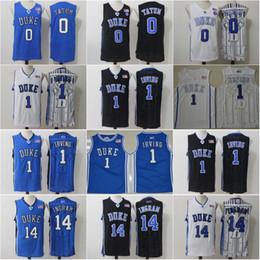 Duke Blue Devils Jersey 0 Jayson Tatum 14 Brandon Ingram Stitched 1 Kyrie  Irving College Black White Blue Basketball Jerseys. NZ 17.04 ... d68625cf5