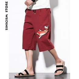 88be5bb462 Sinicism Store Mens Cotton Linen Broad Leg Pants Male Summer Casual Calf-Length  Pants Man 2018 Carp Embroidery Loose Trousers