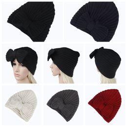 Cashmere beanies online shopping - 5Colors Girls Bowknot Knitted Caps Women Winter Crochet kint Hat Female Cashmere Headwear Warmer Beanie Cap AAA859
