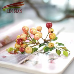 $enCountryForm.capitalKeyWord Canada - 1 pc Doouble Red Mini Fake Fruit Small Berries Artificial Flower cherry Bouquet Stamen Wedding Christmas Decorative