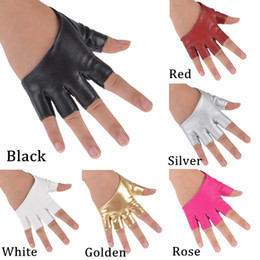men pole dancing Australia - NHalf Finger Fingerless PU Leather Gloves Ladys Driving Show Pole Dance