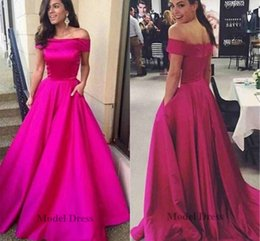 Wholesale make even clothes for sale – plus size Fuchsia Off Shoulder Evening Dresses Cheap Elegant A Line Prom Gowns With Pocket Celebrity Clothing Zipper Back Floor Length Satin Simple