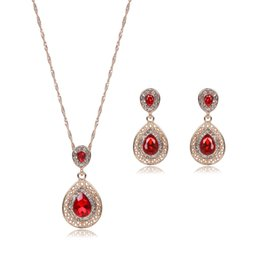 ruby crystal bridal necklace sets UK - Red Ruby Jewelry Gold Plated Necklace Set Fashion Diamond Wedding Bridal Costume Jewelry Sets Party Ruby Jewelrys(Necklace + Earrings)