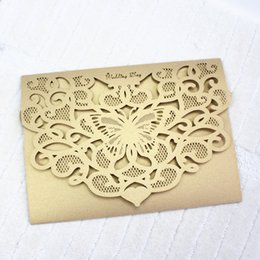 Chinese  Gold butterfly wedding invitation card laser cutting engagement marriage anniversary party invitations multi colors free ship manufacturers