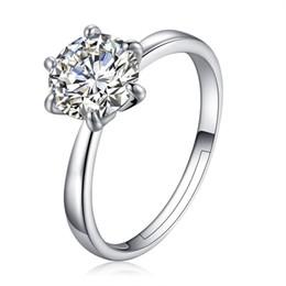Adjustable White Gold Diamond Ring UK - Korean style women adjustable gemstone ring luxury 8mm cubic zirconia diamond ring 18k white gold wedding rings jewelry